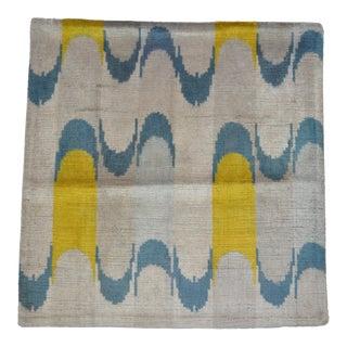 Yellow and Blue Wavy Motif Silk Velvet Pillow For Sale