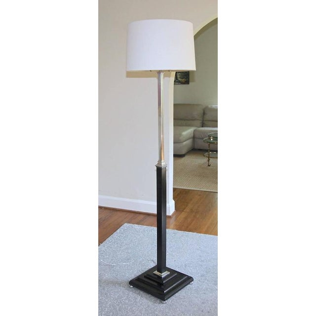 1930s Hollywood Regency Parzinger Style Wood and Nickel Floor Lamp For Sale - Image 10 of 11