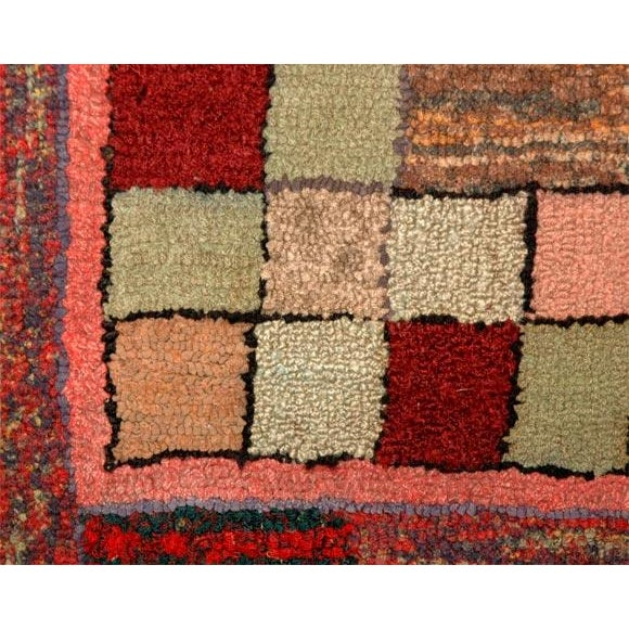 Early 20th Century 1930s Mounted Blocks Hand-Hooked Rug For Sale - Image 5 of 7
