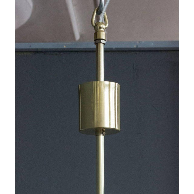 French Mid-Century Modern Brass Chandelier with Glass - Image 7 of 11