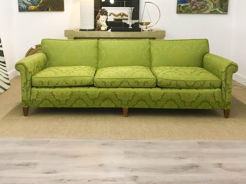 Mid Century Signed Sloane Sofa In Chartreuse Damask For Sale   Image 9 Of 9