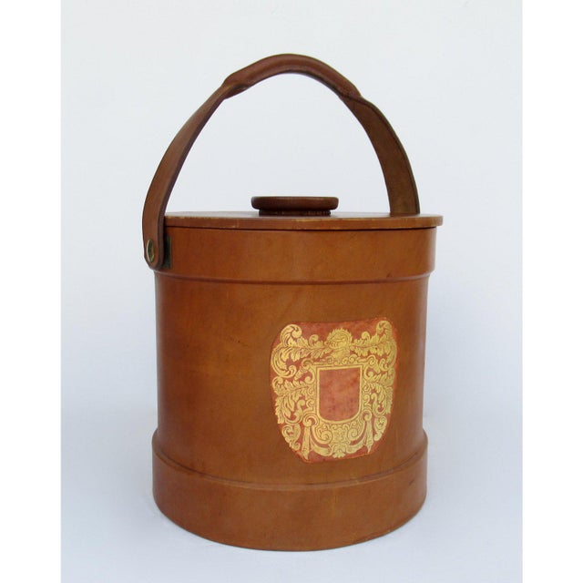 Vintage Italian Ralph Lauren-Style Tooled Saddle Leather Oversized Traveling Cooler, Wine Holder And/Or Ice Bucket For Sale - Image 13 of 13