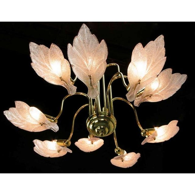 Nine Arm Murano Glass Leaf Chandelier In The Style Of Barovier & Toso - Image 4 of 5