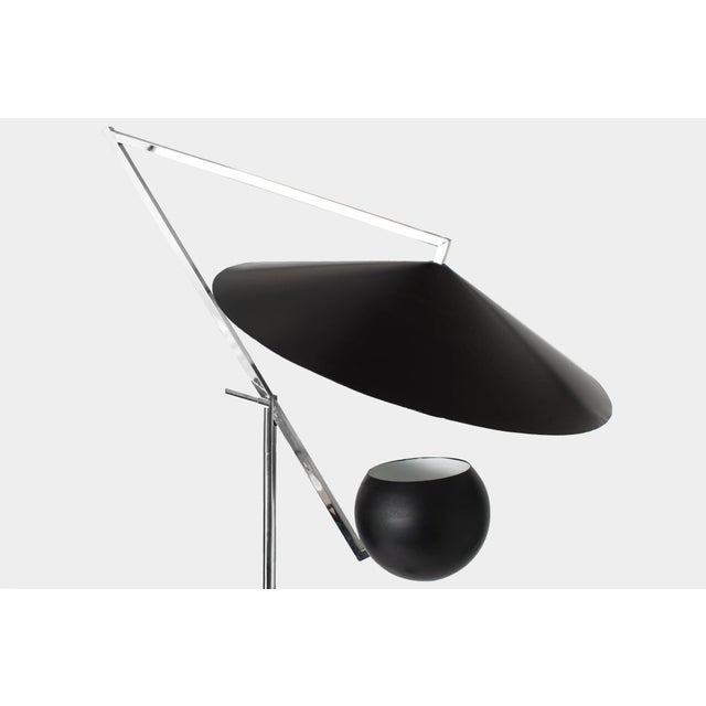 1960s Vintage Robert Sonneman Architectural Chrome and Black Articulated Floor Lamp For Sale In New York - Image 6 of 7