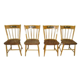 American Carved Wood Country Chairs - Set of 4 For Sale