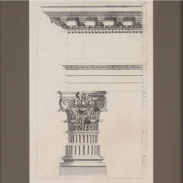 Detailed etching depicting an architectural Palladian study of part of the Porta Leoni or Gate of the Lions, an ancient...