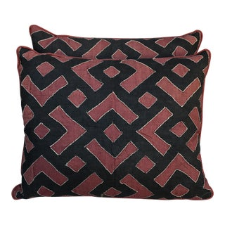 Black & Rust Kuba Cloth Pillows - A Pair