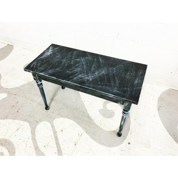 Vintage Turquoise and Black Distressed Bench - Image 6 of 6