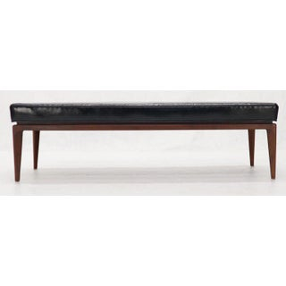 Jens Risom Style Walnut Base Mid-Century Modern Black Upholstery Bench Preview