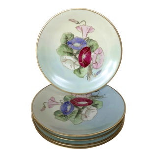 19th C Limoges Floral Plates - Set of 5 For Sale