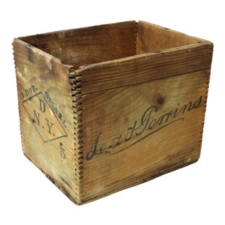 1900s Rustic Lea & Perrins Wood Shipping Box For Sale