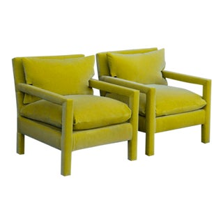 1970s Milo Baughman Parsons Chairs Reupholstered in Yellow Velvet - a Pair For Sale