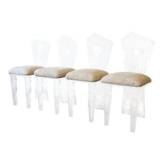 Postmodern Abstract Lucite Dining Chairs - Set of 4