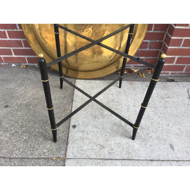 Brass Tray Table With Faux Bamboo Stand For Sale - Image 9 of 10