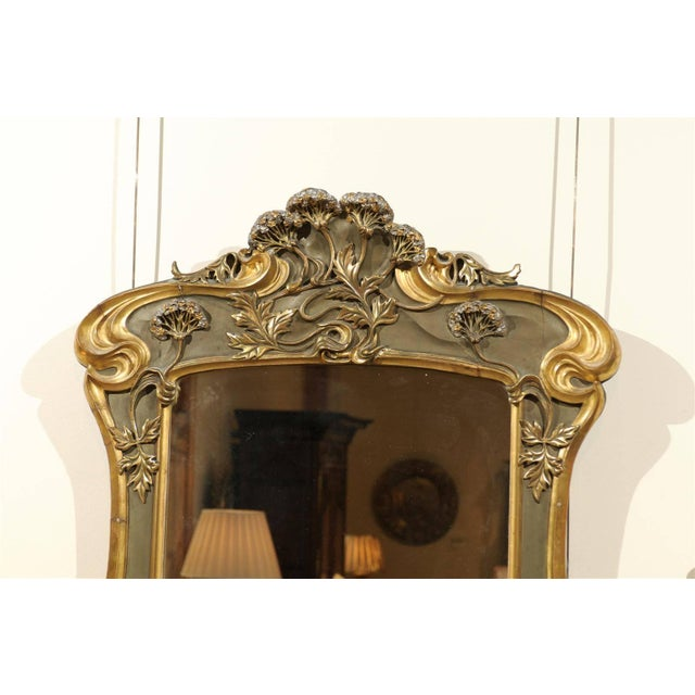 Art Nouveau Style Gold & Taupe Mirror For Sale - Image 4 of 11
