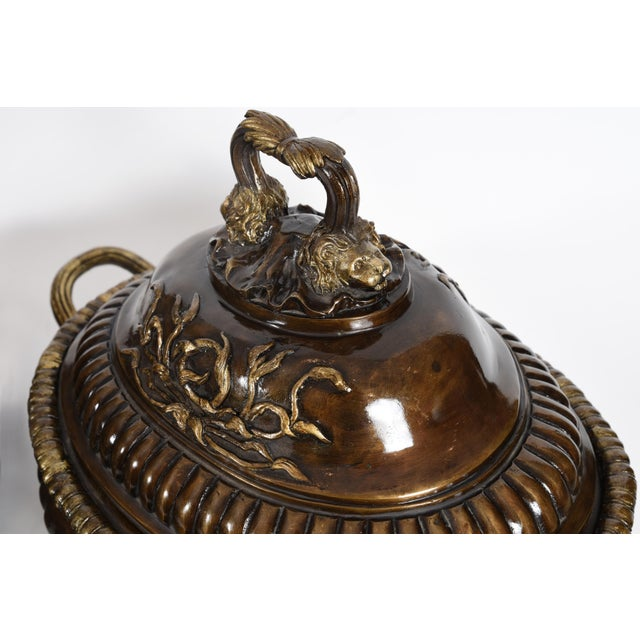 Early 20th Century Early 20th Century Neoclassical Style Bronze Tureen Centerpieces - a Pair For Sale - Image 5 of 13