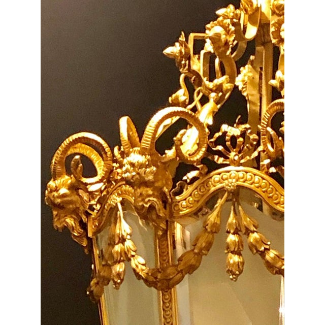 Monumental Louis XVI Style Dore Bronze Large Rams Head Lantern For Sale - Image 10 of 12