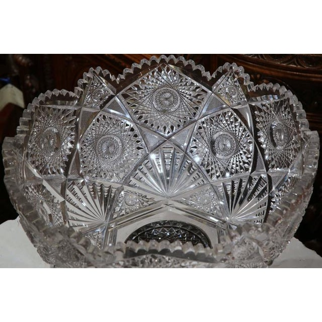 Transparent 19th Century French Cut-Glass Punch Bowl With Silver Repousse Base For Sale - Image 8 of 9
