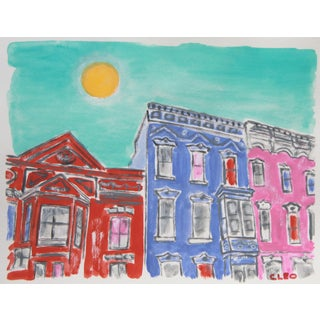 Contemporary Victorian Row House Architecture Painting by Cleo Plowden For Sale