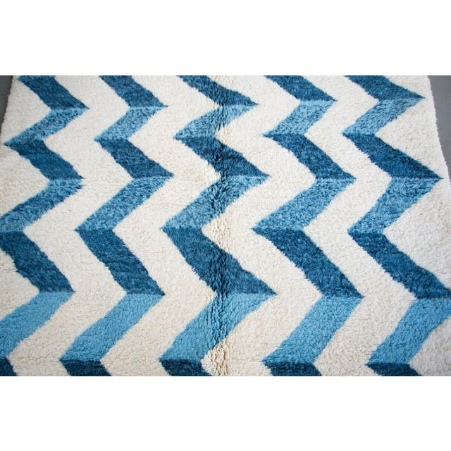 "Contemporary ""Bluecination"" Ivory Handmade Contemporary Berber Rug With Blue Zigzag - 8'3"" X 5'9"" Ft For Sale - Image 3 of 6"