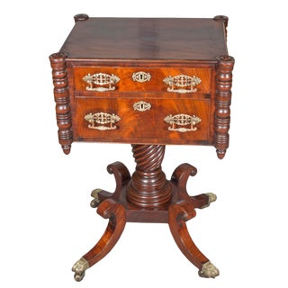 Early 19th Century Vintage American Classical Style Mahogany Work Table For Sale