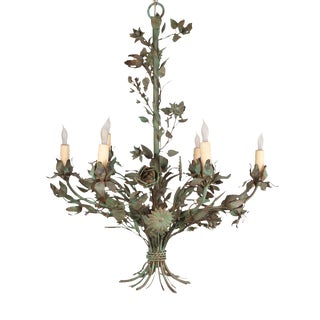 Painted Wrought Iron Flower Chandelier For Sale
