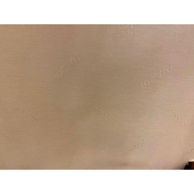 1980s Vintage Swaim Regency Peach Velvet Damask Upholstered Scroll Arm Curvy High Side Bench on Casters For Sale - Image 10 of 12