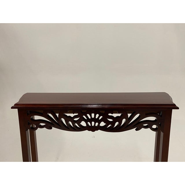 1980s Carved Mahognay Console Table For Sale - Image 5 of 12