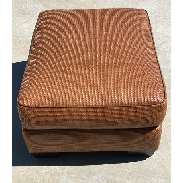 Modern Donghia Leather Woven Ottoman For Sale - Image 3 of 11