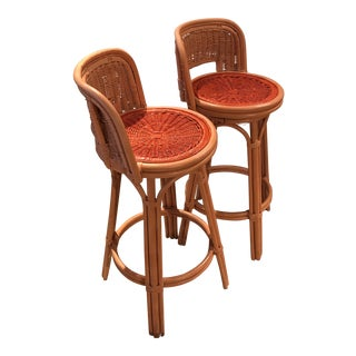 Painted Wicker Stools - A Pair