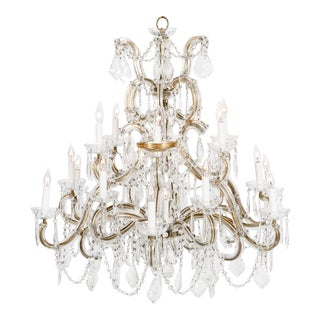 Late 19th Century Cut Crystal 18-Light Hanging Chandelier For Sale