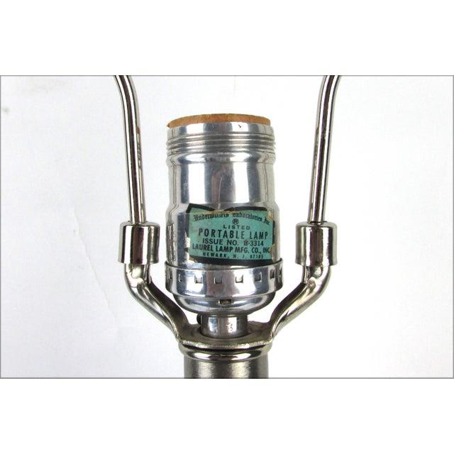 Hollywood Regency Brushed Chrome Lamp - Image 3 of 5