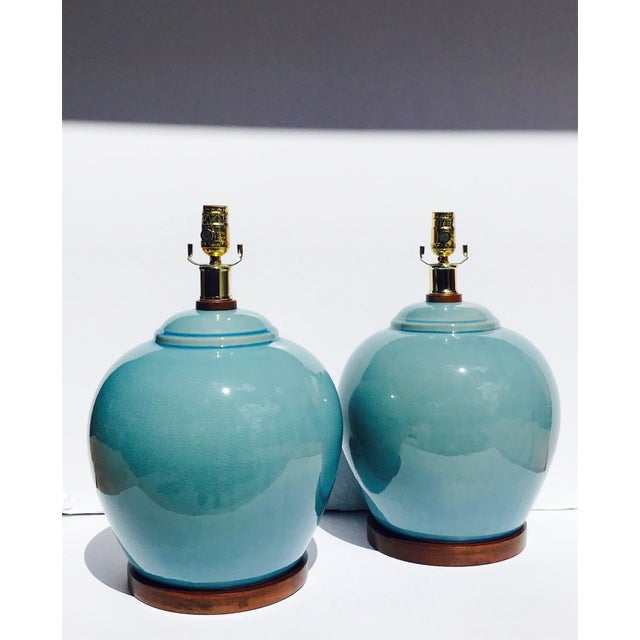 Ralph Lauren Pair of Vintage Ralph Lauren Chinese Pottery Lamps in Robin's Egg Blue For Sale - Image 4 of 13