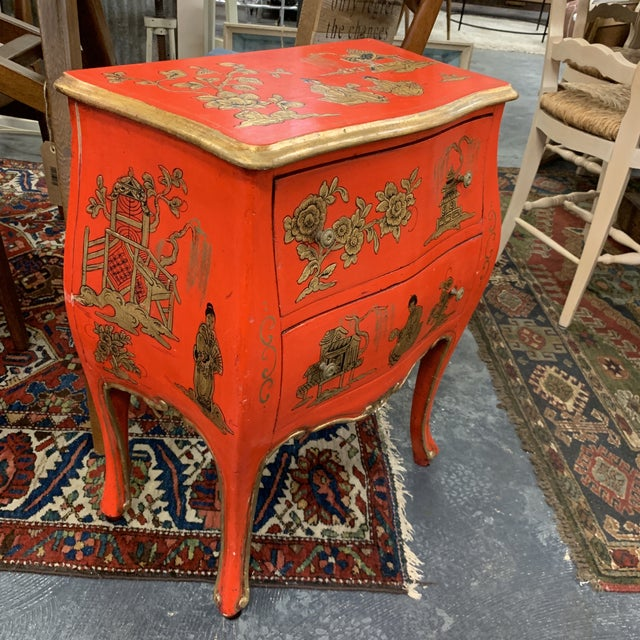 Beautiful vintage piece, age unknown. Bright and gorgeous, hand painted, hand crafted bright red with gold gilt.