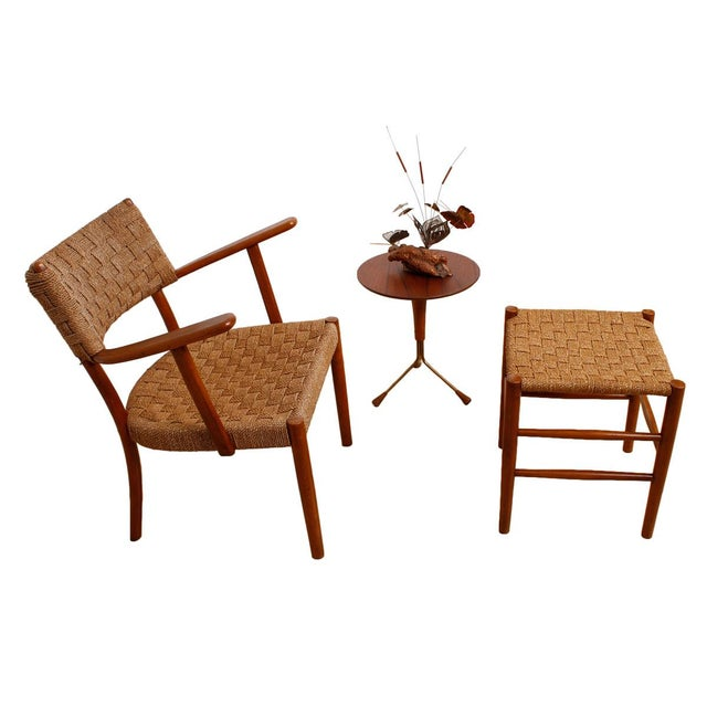Fritz Hansen 1930's Woven Rope Chair & Ottoman - Image 2 of 6