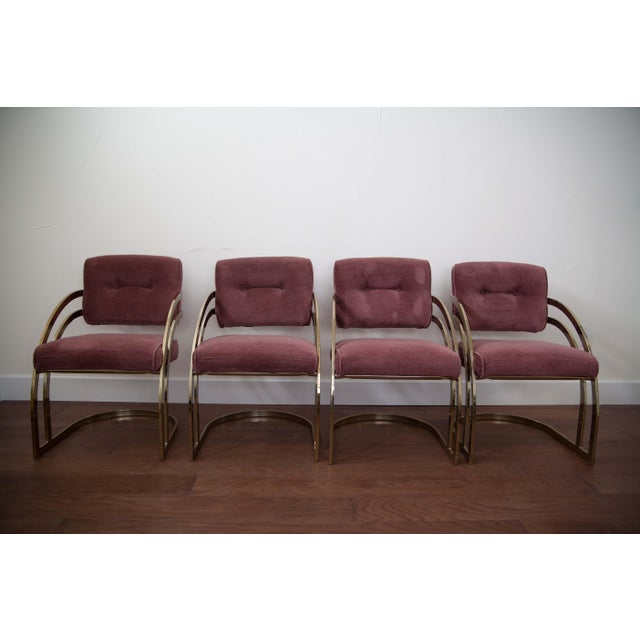 Milo Baughman Brass Cantilever Chairs - Set of 4 - Image 2 of 4