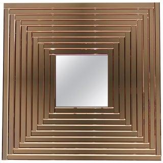 Contemporary Geometric Italian Rose Bronze Murano Glass Gradient Square Mirror For Sale