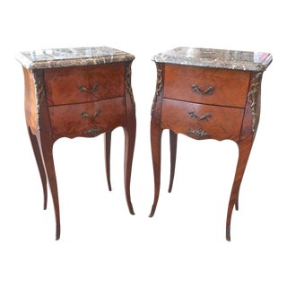 19th Century French Louis XV Walnut Nightstands With Marble Tops - a Pair For Sale