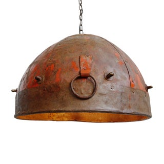 Vintage Industrial Red Iron Pendant For Sale
