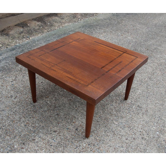 Mid 20th Century Circa 1960, Denmark, J. Schmidt Inlaid Rosewood and Teak Side Table For Sale - Image 5 of 9