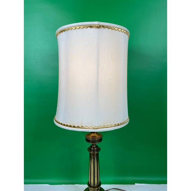 1960s Vintage 1960s Mid Century Modern Stiffel Solid Brass Column Turn Knob Lamp For Sale - Image 5 of 9
