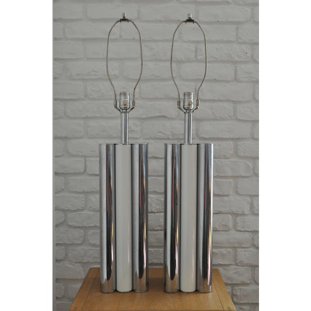 Chrome & White Table Lamps - A Pair - Image 2 of 5