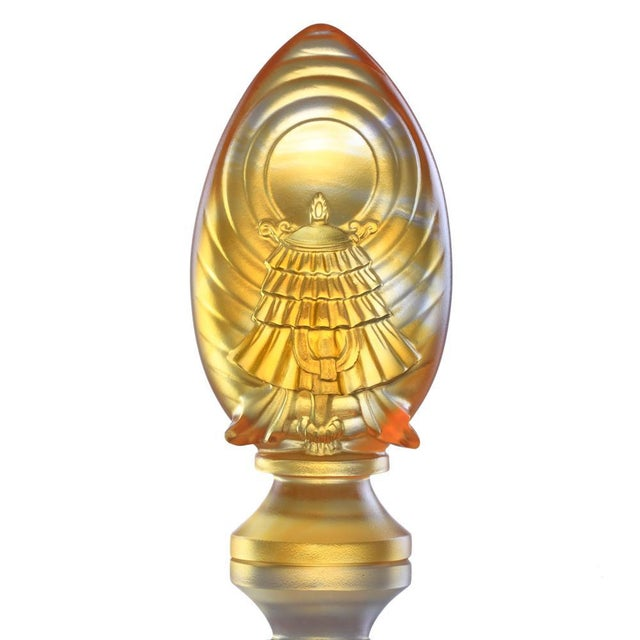 Contemporary Crystal Limited Edition Feng Shui Victory Banner-Auspices Far and Wide, Eight Auspicious Offerings, Light Amber For Sale - Image 3 of 3