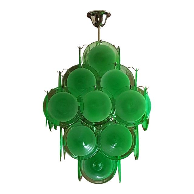 Mid-Century Modern Green Disc Murano Chandelier by Vistosi For Sale