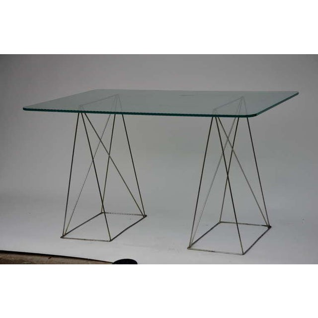 Minimalist Steel and Glass Trestle Table For Sale - Image 4 of 8