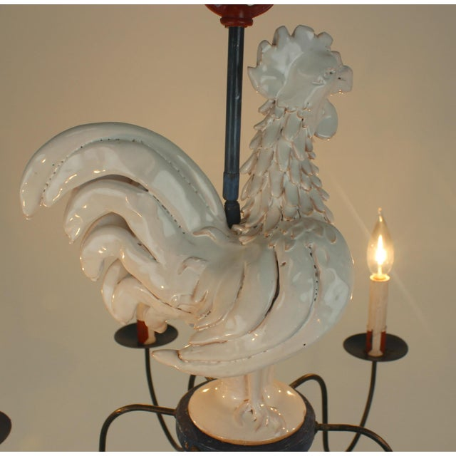 "Country French ""Rooster"" Chandelier For Sale - Image 5 of 11"