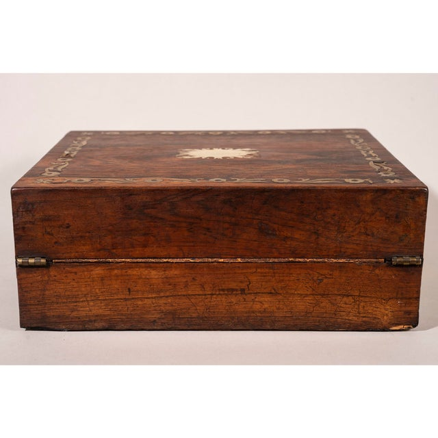 Late 19th Century Brass Inlaid Rosewood Lap Desk For Sale - Image 4 of 12