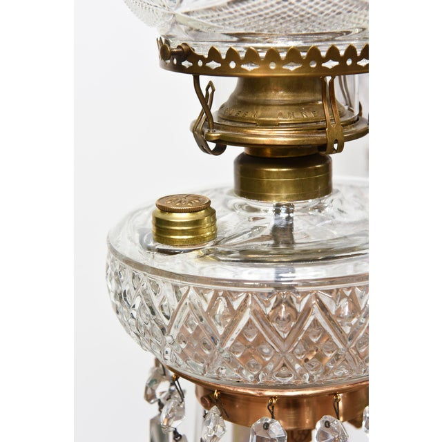 Metal Three Light Aesthetic Movement Red Brass and Crystal Chandelier For Sale - Image 7 of 11