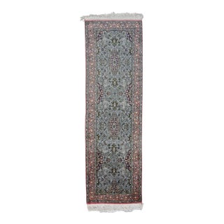 "Persian Floral Azure Wool Runner Rug 8'x2.6"" For Sale"