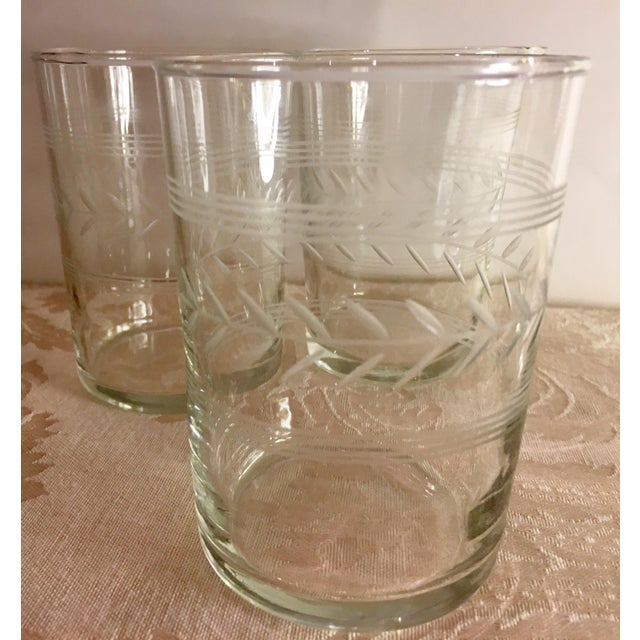 Transparent Mid-Century Etched Glass Juice Glasses - Set of 6 For Sale - Image 8 of 9